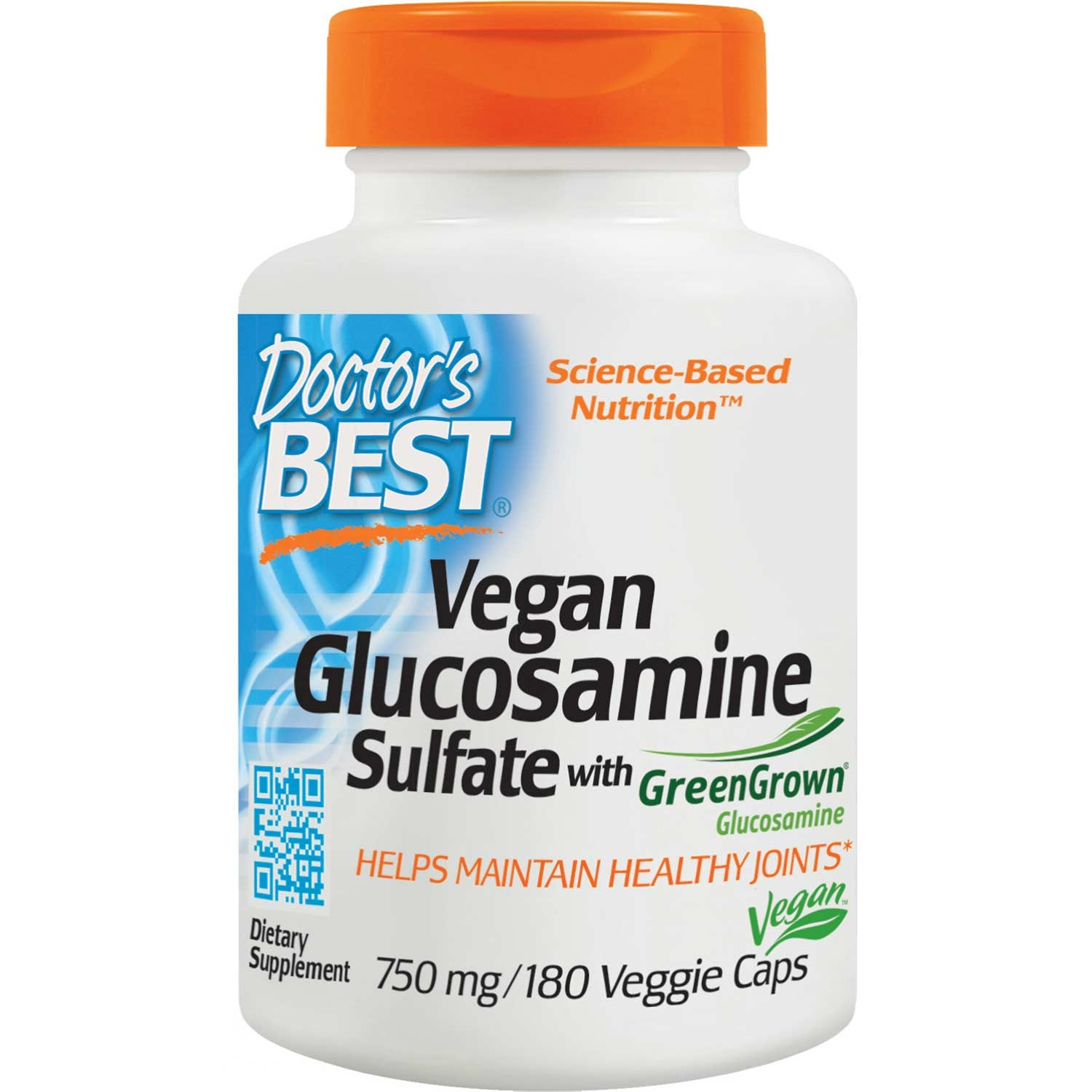 Doctor's Best Vegan Glucosamine Sulfate with GreenGrown Glucosamine 750mg, 180 vcaps-NaturesWisdom