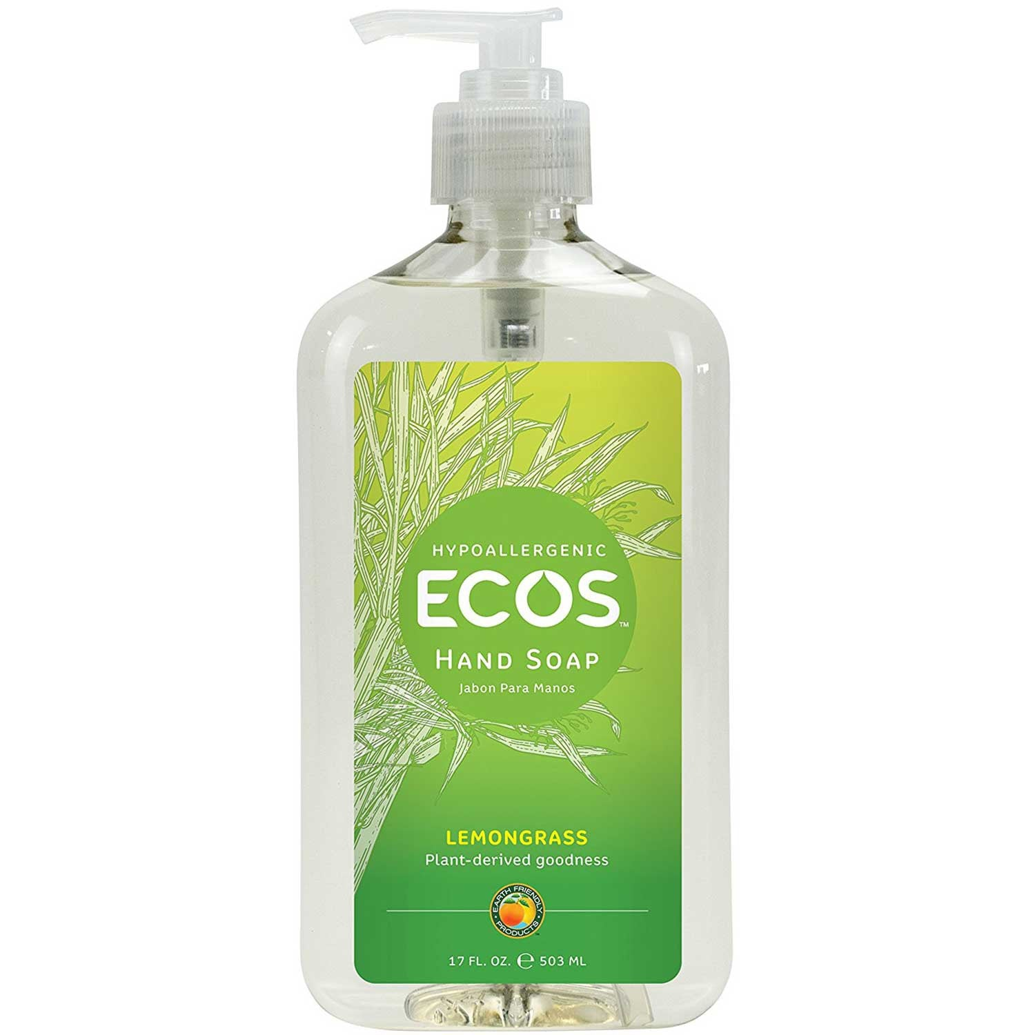 Earth Friendly Hand Soap - Organic Lemongrass, 500 ml.-NaturesWisdom