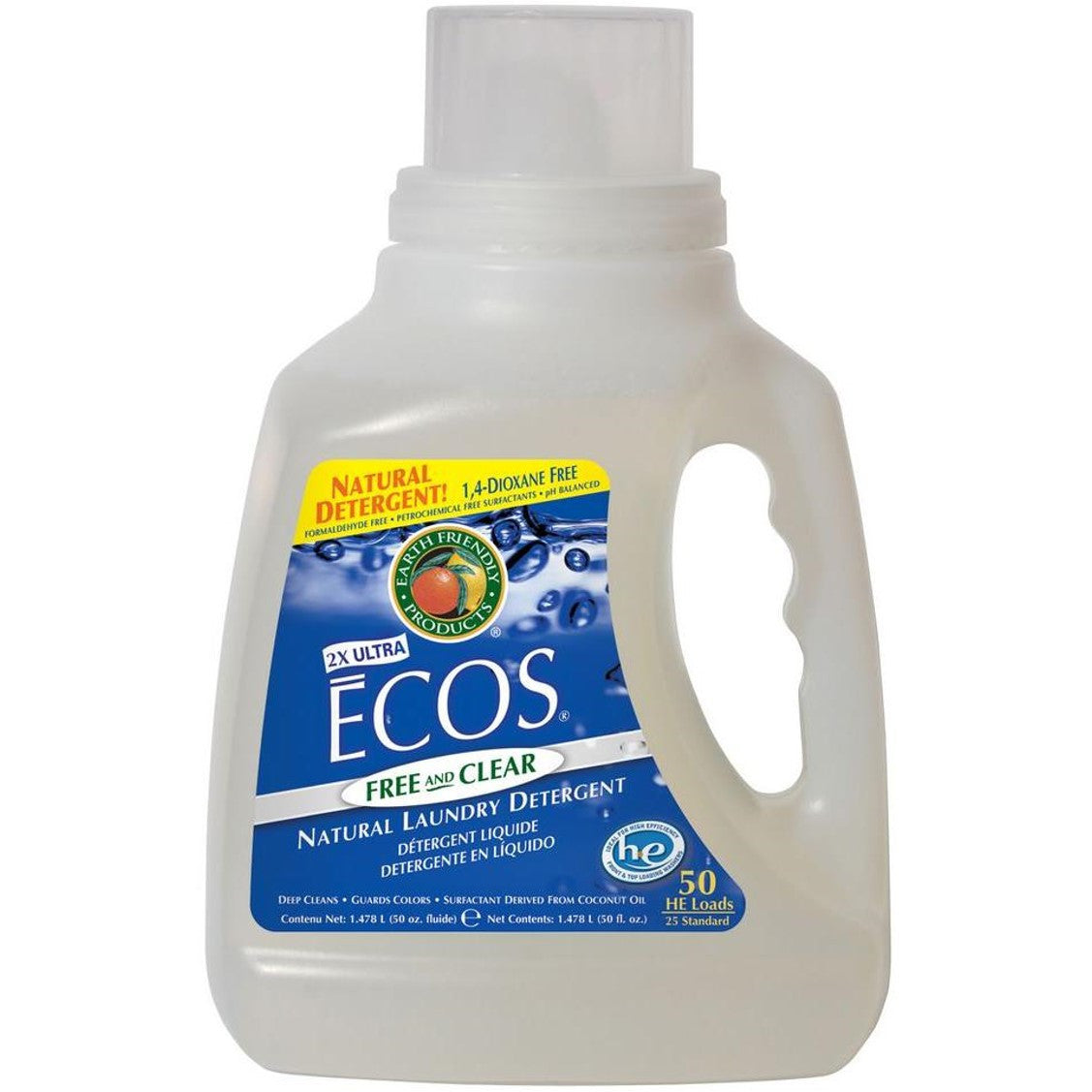 Earth Friendly 2X Concentrate ECOS Laundry Liquid - Free & Clear, 1478.5 ml.-NaturesWisdom