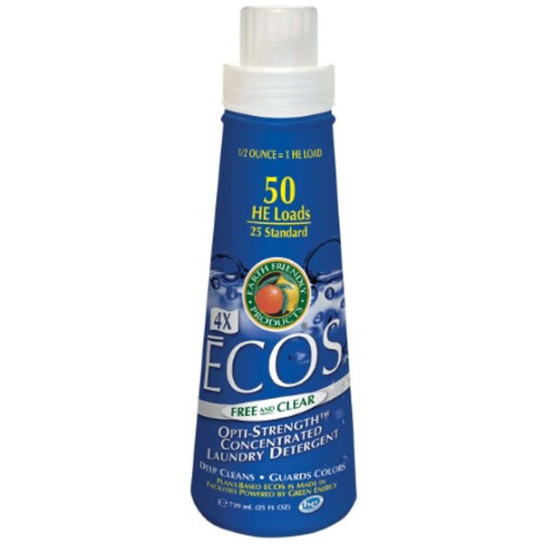 Earth Friendly 4X Concentrate ECOS Laundry Liquid - Free & Clear, 739 ml.