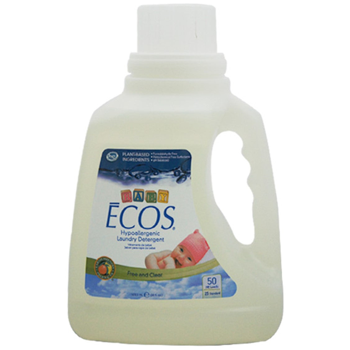 Earth Friendly Baby ECOS Laundry Liquid - Free & Clear, 1478.5 ml.-NaturesWisdom