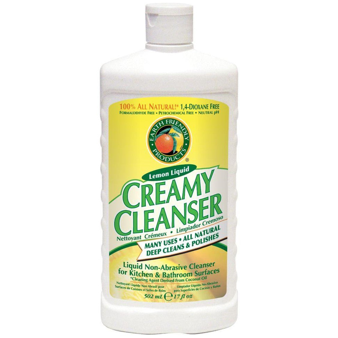 Earth Friendly Creamy Cleanser - Natural Lemon, 500 ml.-NaturesWisdom