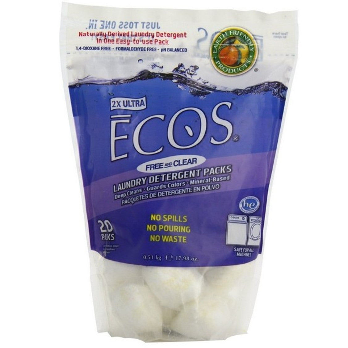 Earth Friendly ECOS Laundry Detergent Packs - Free & Clear, 510 g.