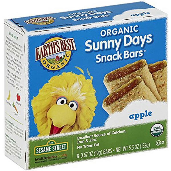 Earth's Best Sesame Street Line Apple Snack Bars (70% Organic), 152g.