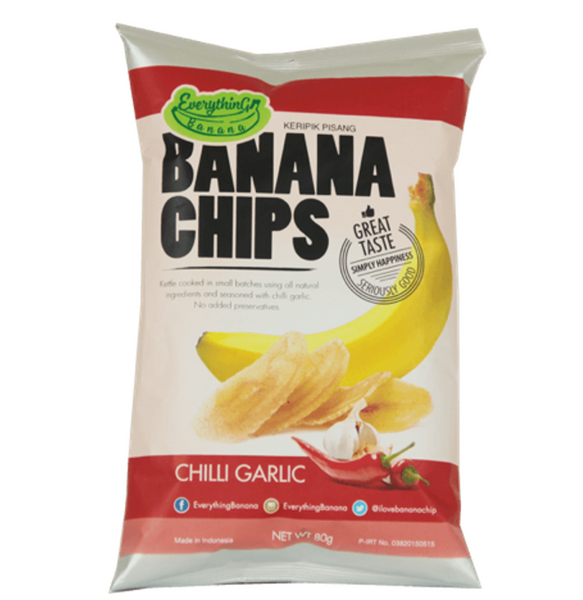Everything Banana Chips - Garlic Chilli, 80g.