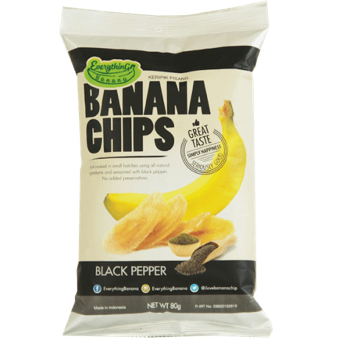 Everything Banana Chips - Black Pepper, 80g.-NaturesWisdom