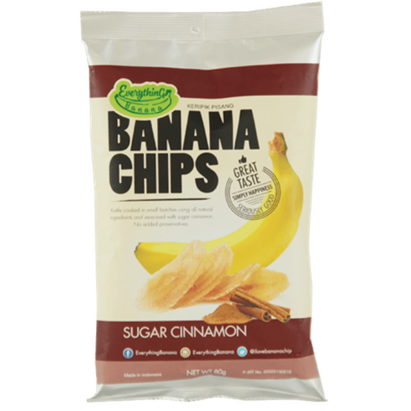 Everything Banana Chips - Sugar Cinnamon, 80g.