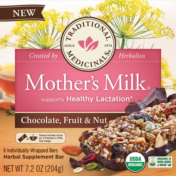 Traditional Medicinals Mother's Milk Chocolate Fruit Nut Bars, 204g