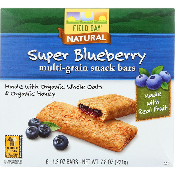 Field Day Multi-grain Cereal Bars (At least 70% Organic) - Super Blueberry, 221g.