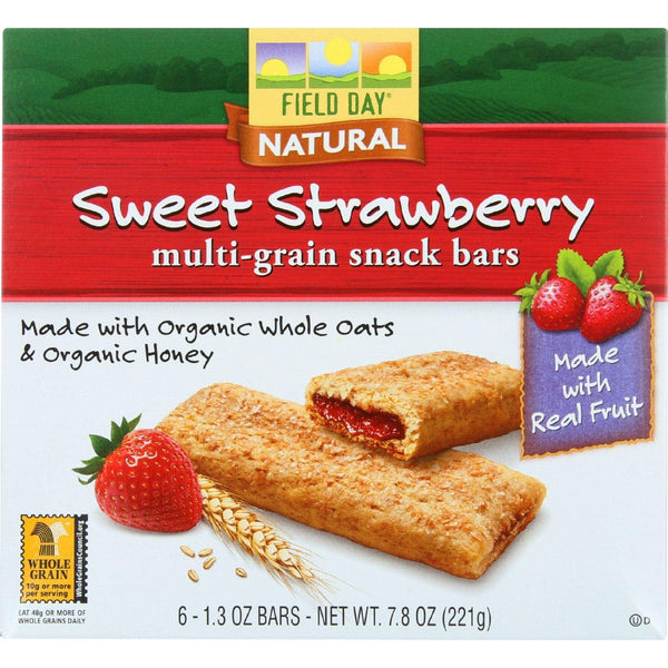 Field Day Multi-grain Cereal Bars (At least 70% Organic) - Sweet Strawberry, 221g.