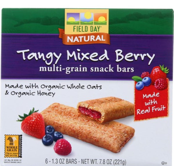Field Day Multi-grain Cereal Bars (At least 70% Organic) - Tangy Mixed Berry, 221g.