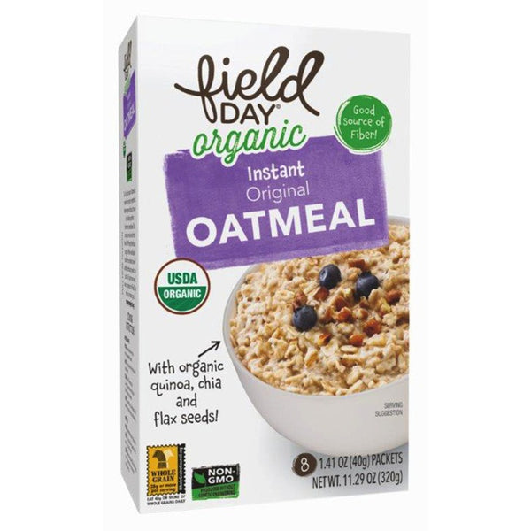 Field Day Organic Instant Oatmeal - Original, 8 x 40g.