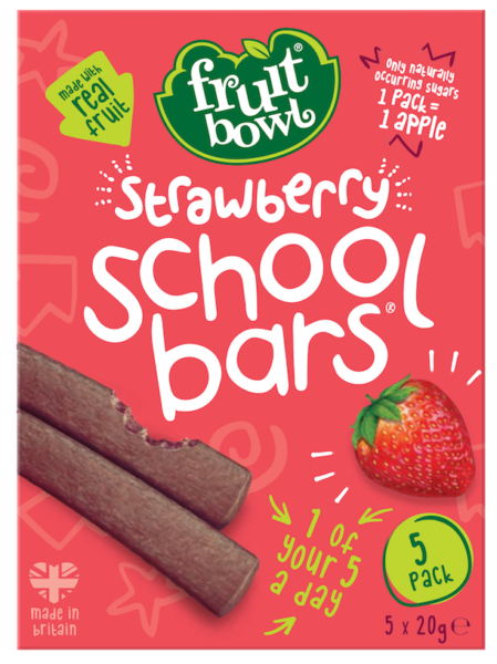 Fruit Bowl School Bars- Strawberry, 5 x 20g.
