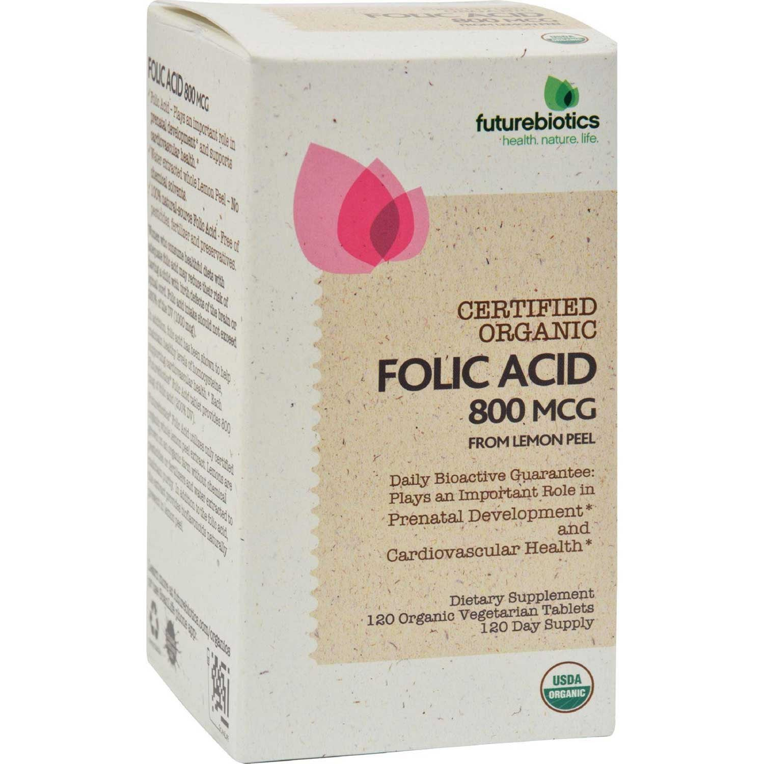 Futurebiotics Folic Acid - Certified Organic, 120 tabs.-NaturesWisdom