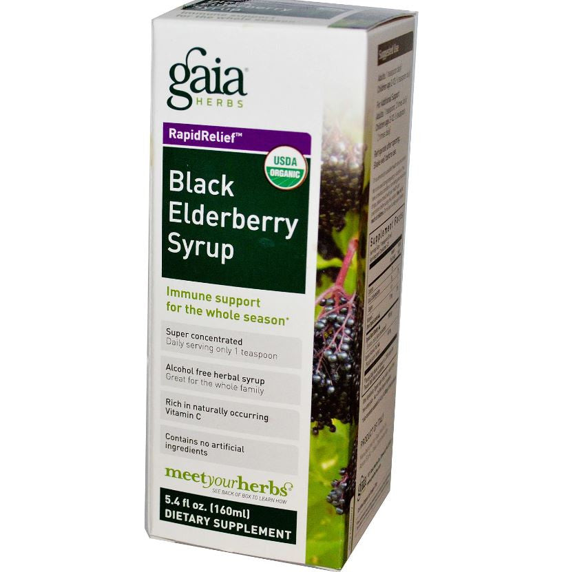 Gaia Herbs Black Elderberry Syrup Super Concentrated, 160 ml.-NaturesWisdom