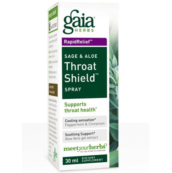 Gaia Herbs Throat Shield Spray (Sage & Aloe), 30 ml.
