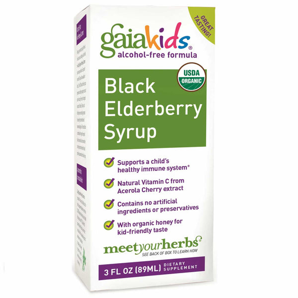 Gaia Kids Black Elderberry Syrup, 90 ml.