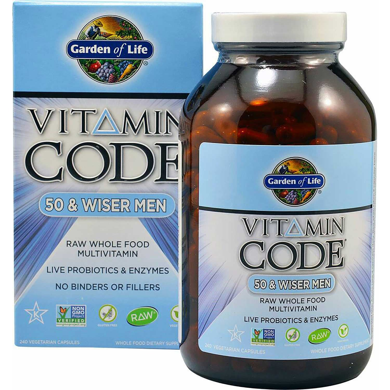 Garden of Life Vitamin Code 50 & Wiser Men's, 120 Vcaps.-NaturesWisdom