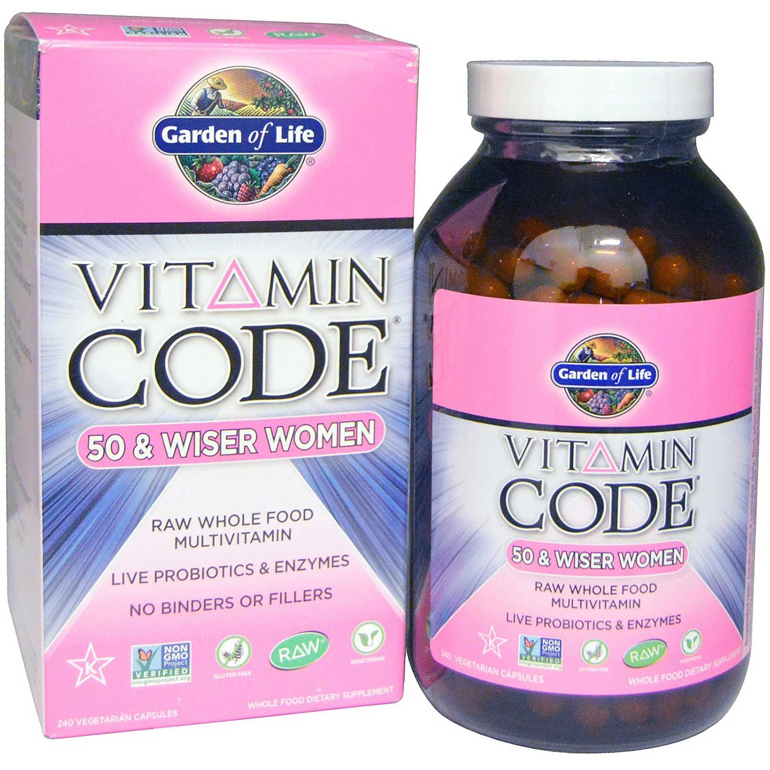 Garden of Life Vitamin Code Raw 50 & Wiser Women, 120 Vcaps-NaturesWisdom