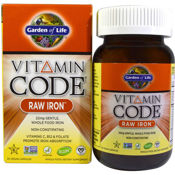 Garden of Life Vitamin Code Raw Iron, 30 Vcaps.