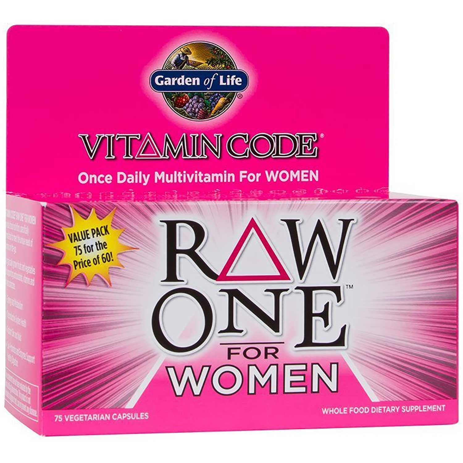 Garden of Life Vitamin Code Raw One For Women, 75 Vcaps.-NaturesWisdom