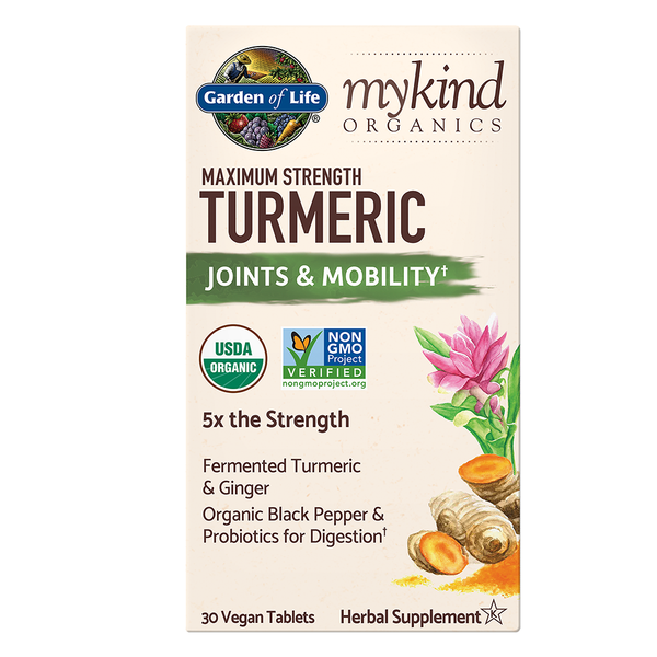 Garden of Life myKind Organics Max Strength Turmeric Joints and Mobility, 30 Tabs