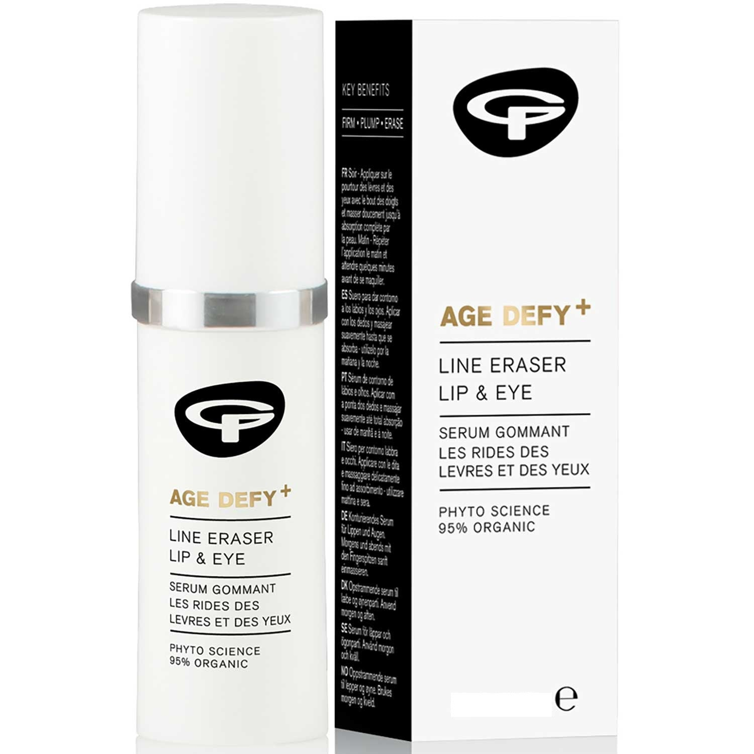Green People Age Defy + Line Eraser Lip & Eye Serum, 10 ml.-NaturesWisdom