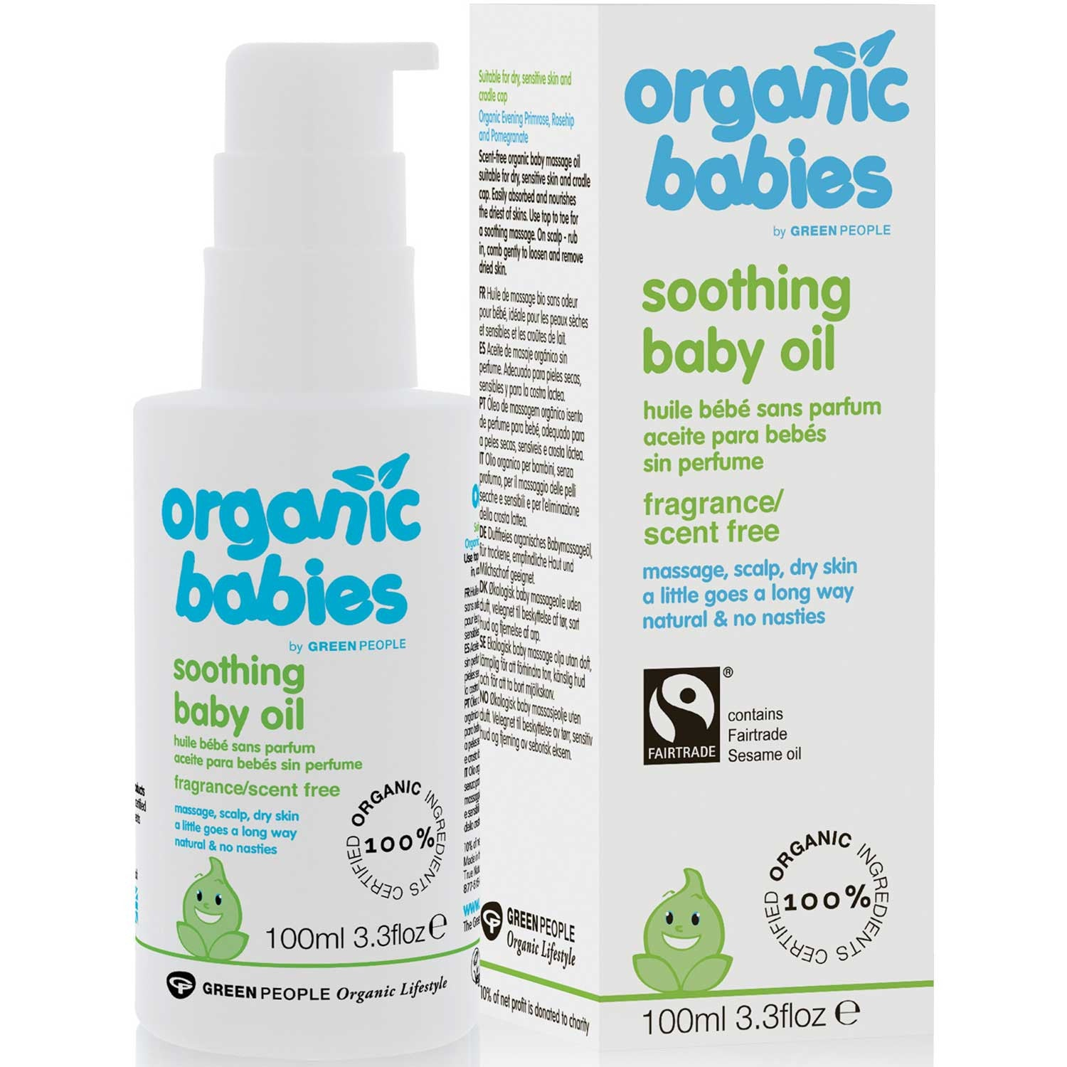 Green People Organic Babies Soothing Baby Oil - No Scent, 100 ml.-NaturesWisdom