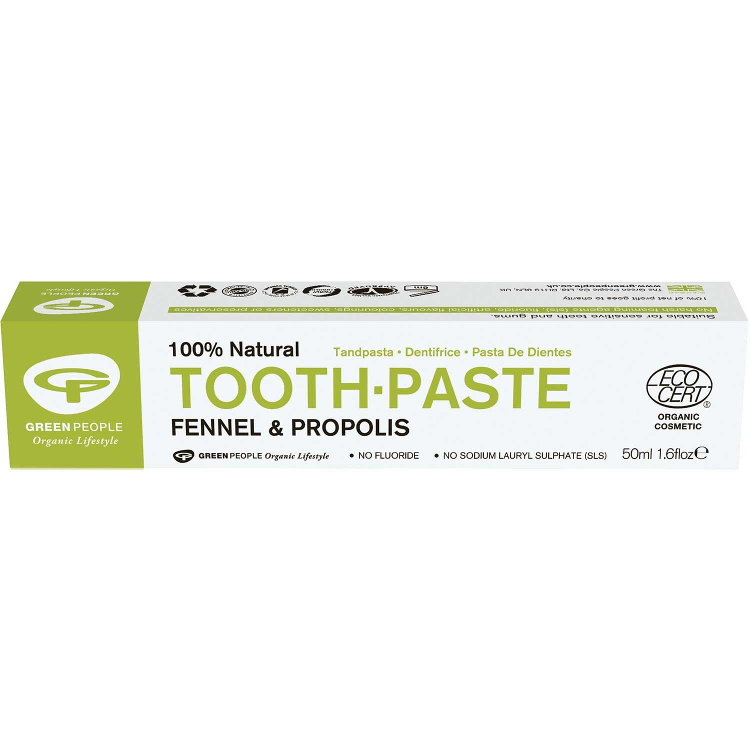 Green People Organic Fennel & Propolis Toothpaste, 50 ml.-NaturesWisdom