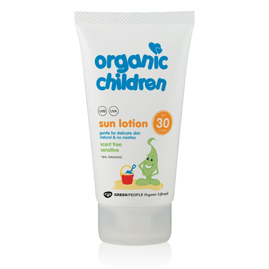 Green People Organic Children Sun Lotion SPF30 - Scent Free, 150 ml.-NaturesWisdom