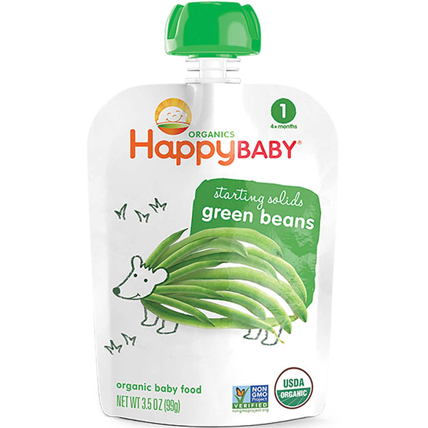 Happy Family Happy Baby Stage 1 Starting Solids - Green Beans, 99 g.