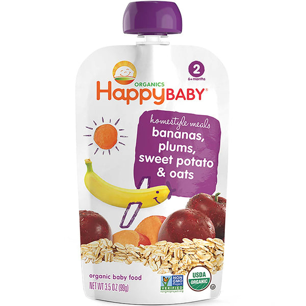 Happy Family Happy Baby Stage 2 Homestyle Meals - Bananas, Plums, Sweet Potatos & Oats, 99 g.