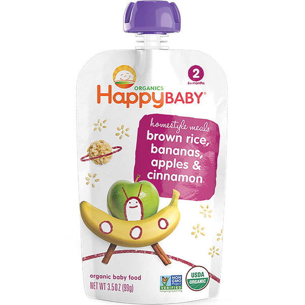 Happy Family Happy Baby Stage 2 Homestyle Meals - Brown Rice, Bananas, Apples & Cinnamon, 99 g.