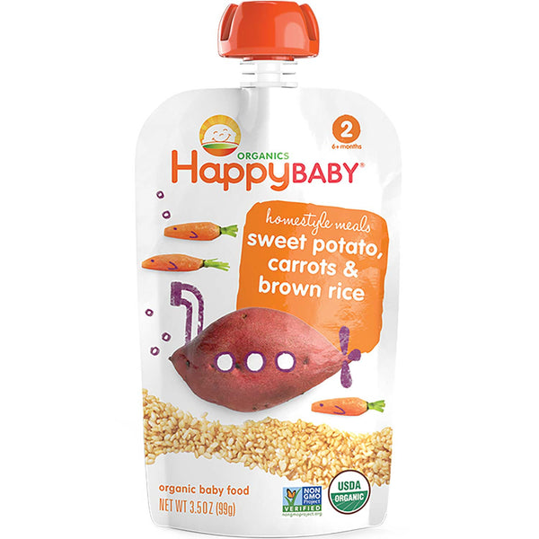 Happy Family Happy Baby Stage 2 Homestyle Meals - Sweet Potato, Carrots & Brown Rice, 99 g.