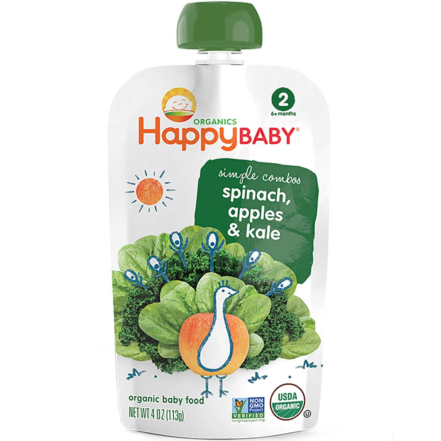 Happy Family Happy Baby Stage 2 Simple Combos - Apple, Spinach & Kale, 113 g.-NaturesWisdom