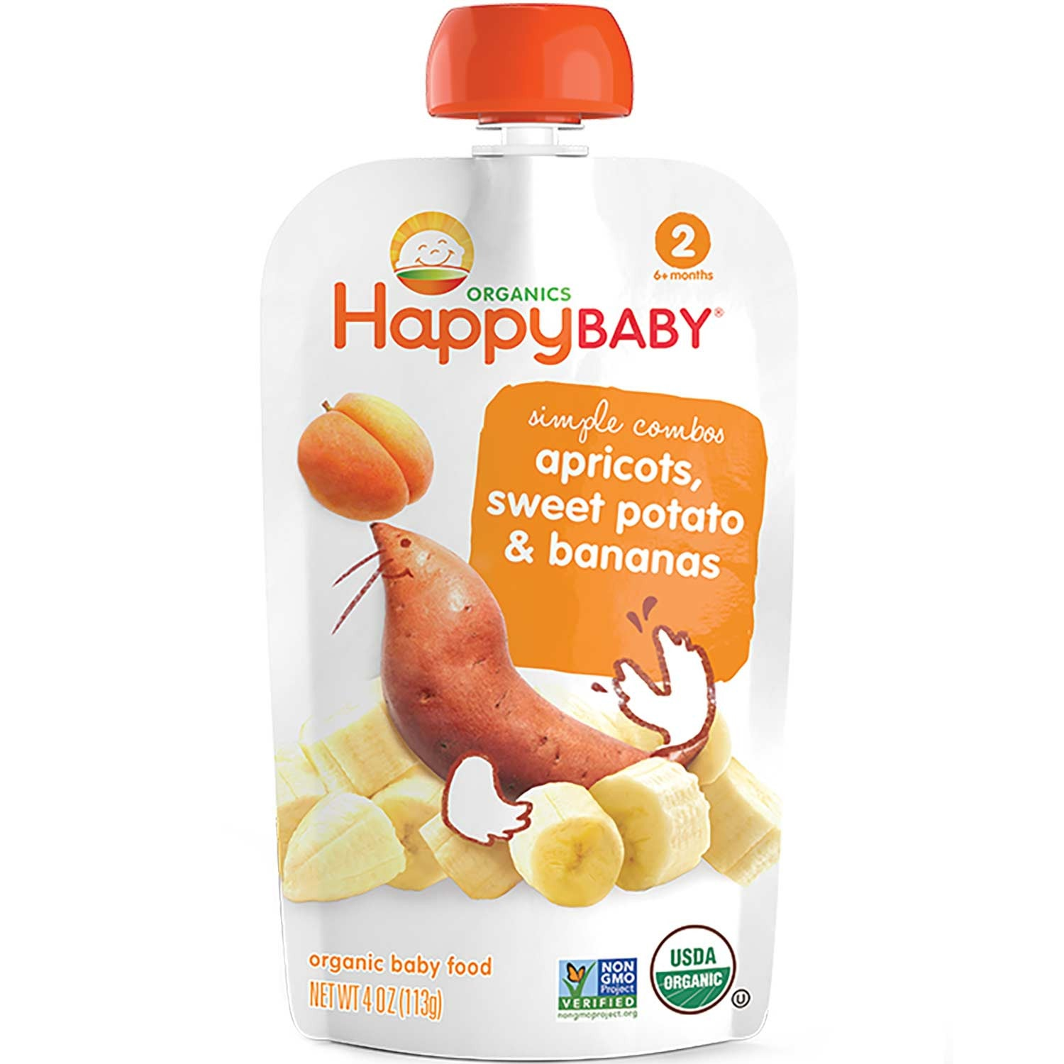 Happy Family Happy Baby Stage 2 Simple Combos - Apricots, Sweet Potato & Bananas, 113 g.-NaturesWisdom