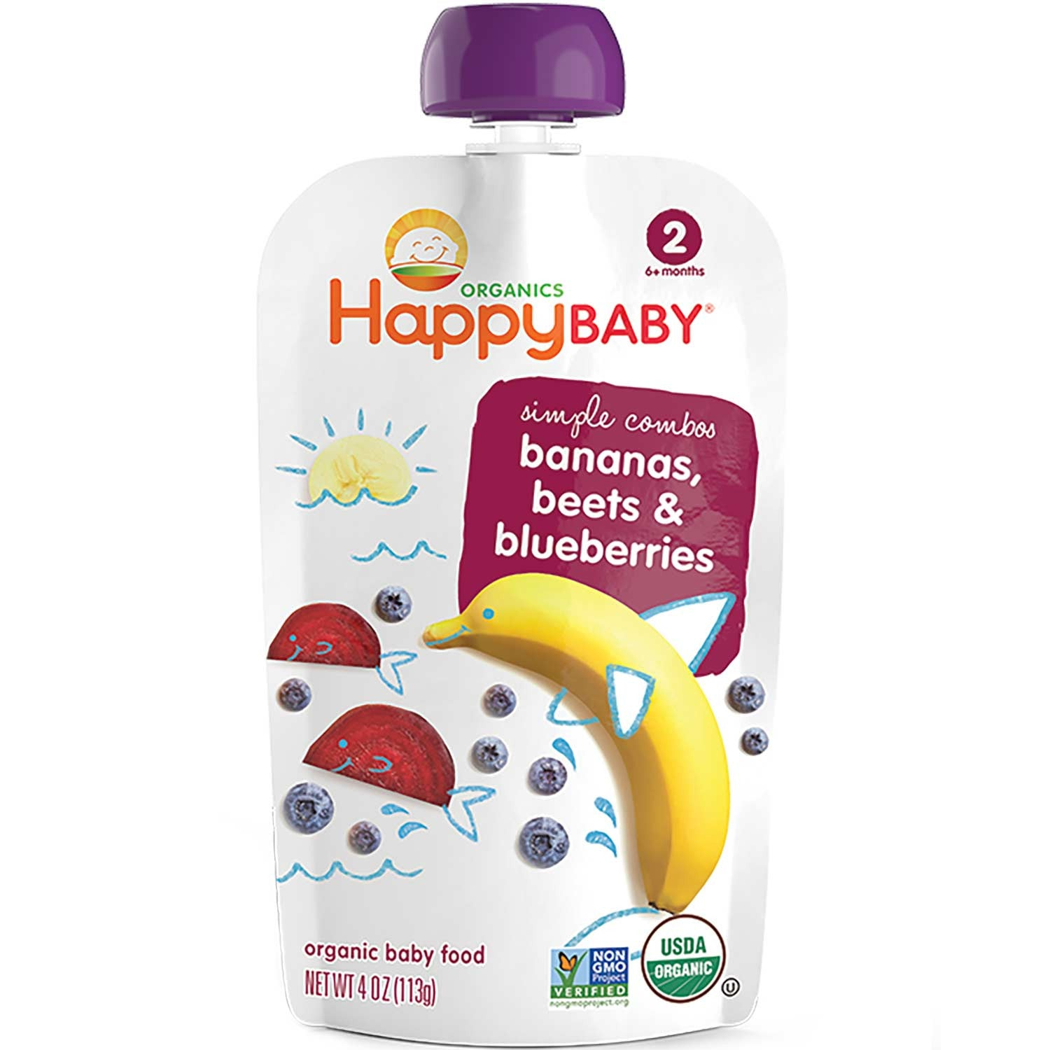 Happy Family Happy Baby Stage 2 Simple Combos - Bananas, Beets & Blueberries, 113 g.-NaturesWisdom