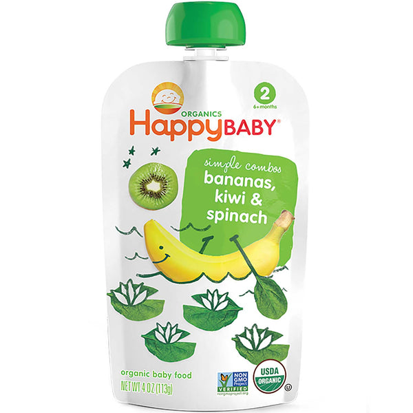 Happy Family Happy Baby Stage 2 Simple Combos - Bananas, Kiwi & Spinach, 113 g.