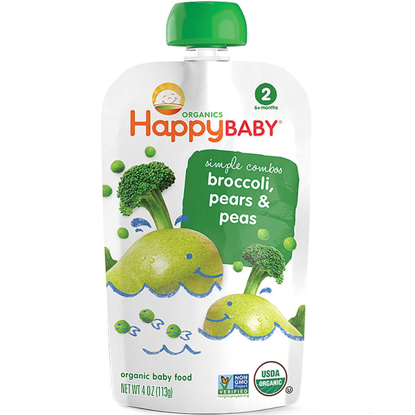 Happy Family Happy Baby Stage 2 Simple Combos - Broccoli, Pears & Peas, 113 g.