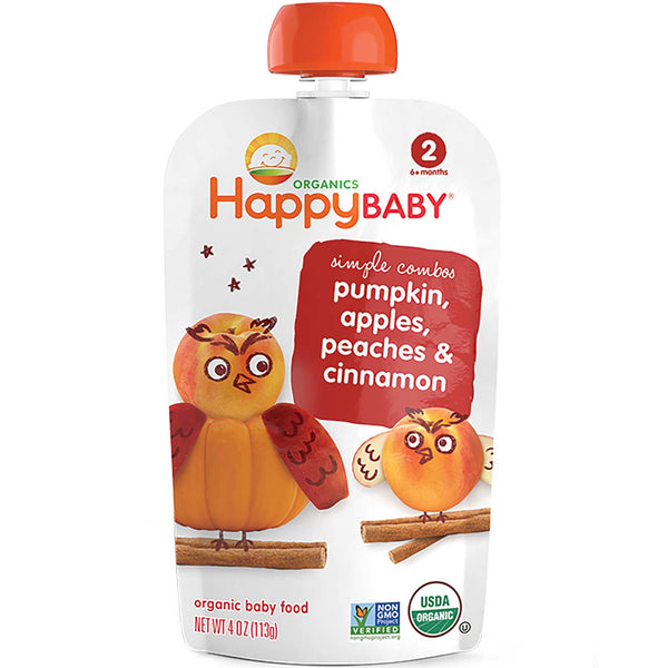 Happy Family Happy Baby Stage 2 Simple Combos - Pumpkin, Apple, Peach & Cinnamon, 113 g.