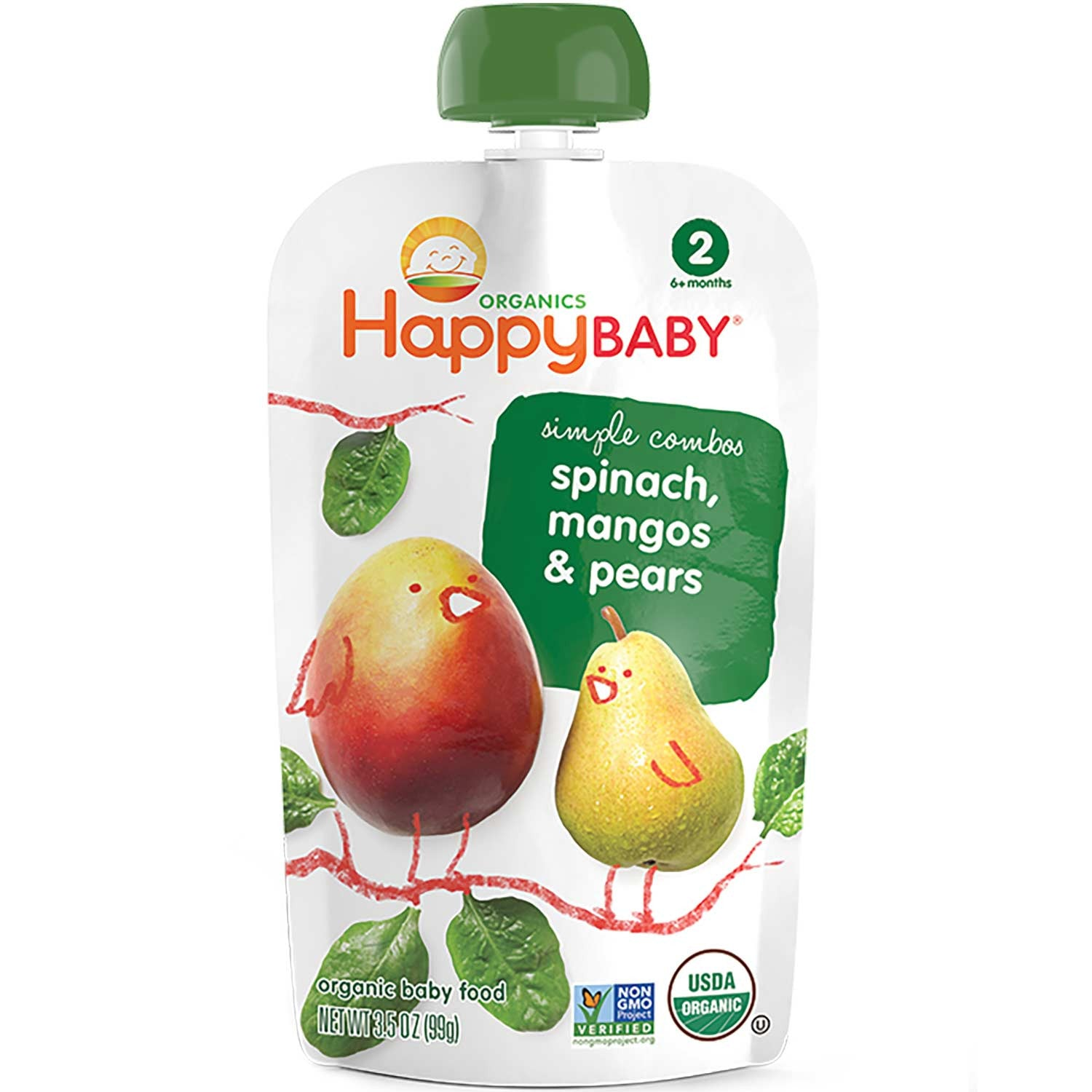 Happy Family Happy Baby Stage 2 Simple Combos - Spinach, Mangos & Pears, 113 g.-NaturesWisdom
