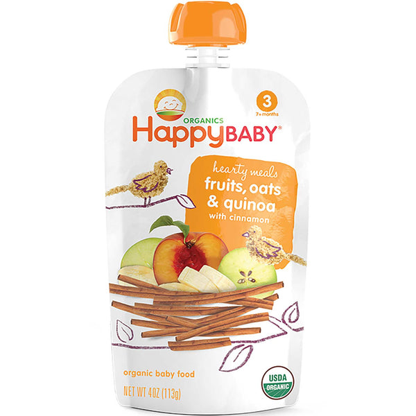 Happy Family Happy Baby Stage 3 Hearty Meals - Fruits, Oats & Quinoa w/Cinnamon, 113 g.