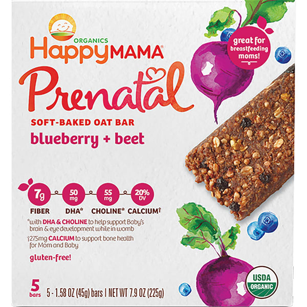 Happy Family Happy Mama Prenatal Soft-Baked Oat Bar - Blueberry & Beet, 5 x 45 g.