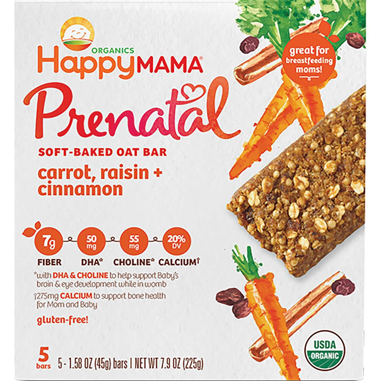 Happy Family Happy Mama Prenatal Soft-Baked Oat Bar - Carrot, Raisin & Cinnamon, 5 x 45 g.