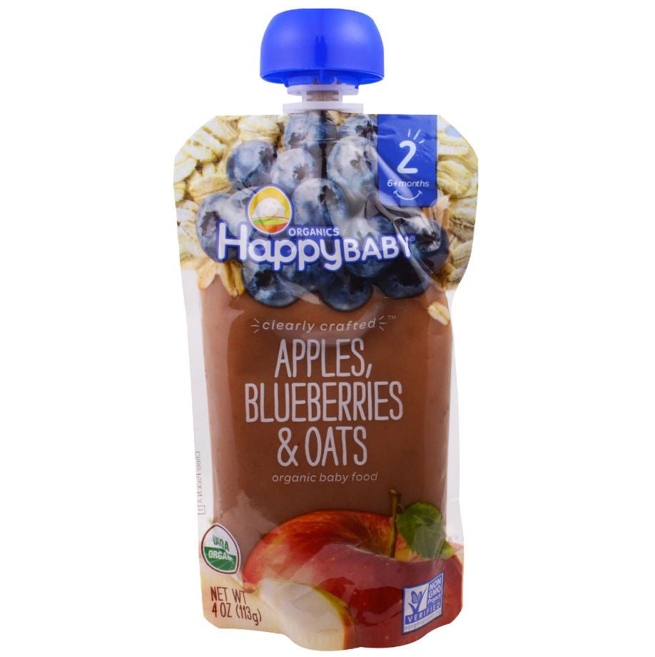 Happy Family Happy Baby Stage 2 Clearly Crafted - Apples Blueberries & Oats, 113 g.-NaturesWisdom