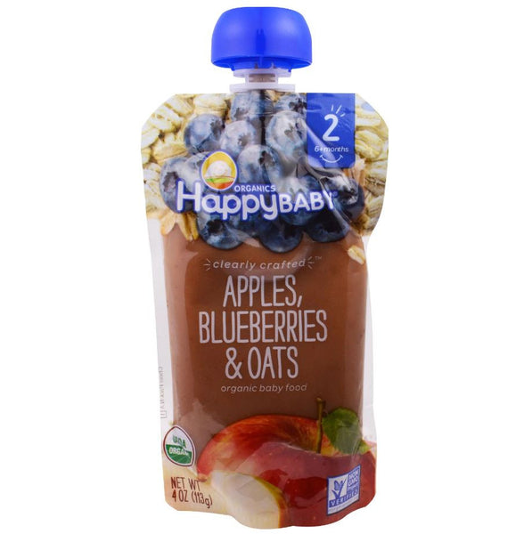 Happy Family Happy Baby Stage 2 Clearly Crafted - Apples Blueberries & Oats, 113 g.