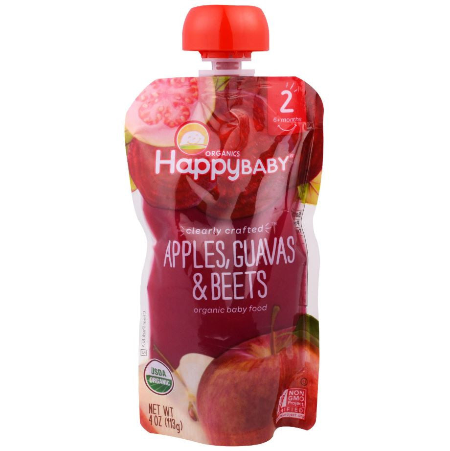 Happy Family Happy Baby Stage 2 Clearly Crafted - Apples Guavas & Beets, 113 g.-NaturesWisdom