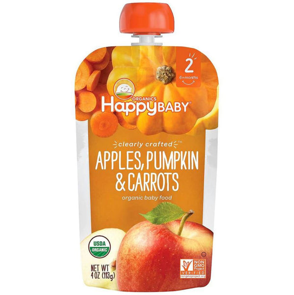 Happy Family Happy Baby Stage 2 Clearly Crafted - Apples Pumpkin & Carrots, 113 g.