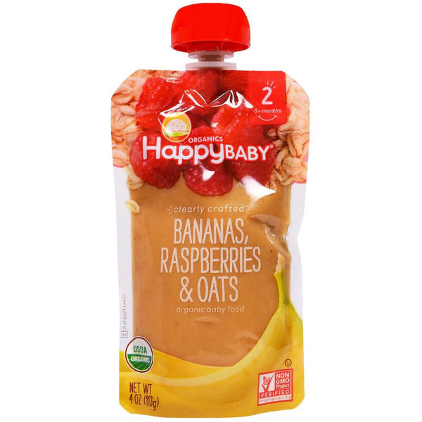 Happy Family Happy Baby Stage 2 Clearly Crafted - Bananas Raspberries & Oats, 113 g. (Exp: Aug 2020)