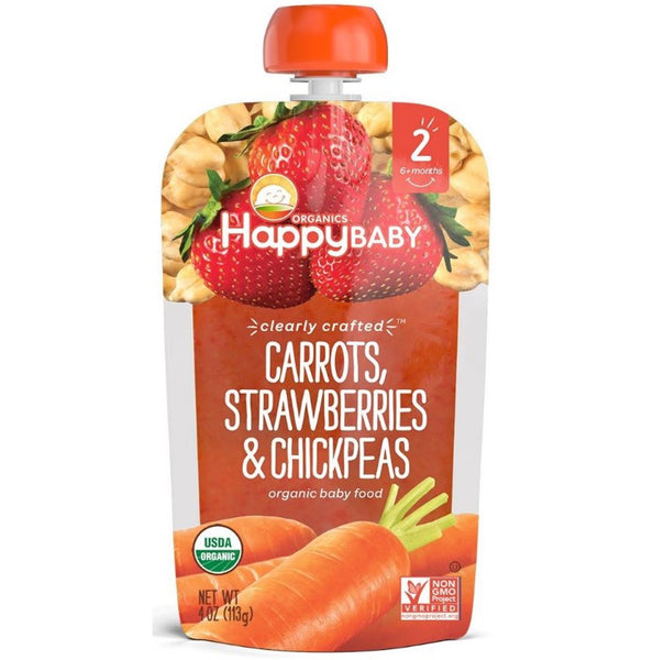 Happy Family Happy Baby Stage 2 Clearly Crafted - Carrots Strawberries & Chickpeas, 113 g.